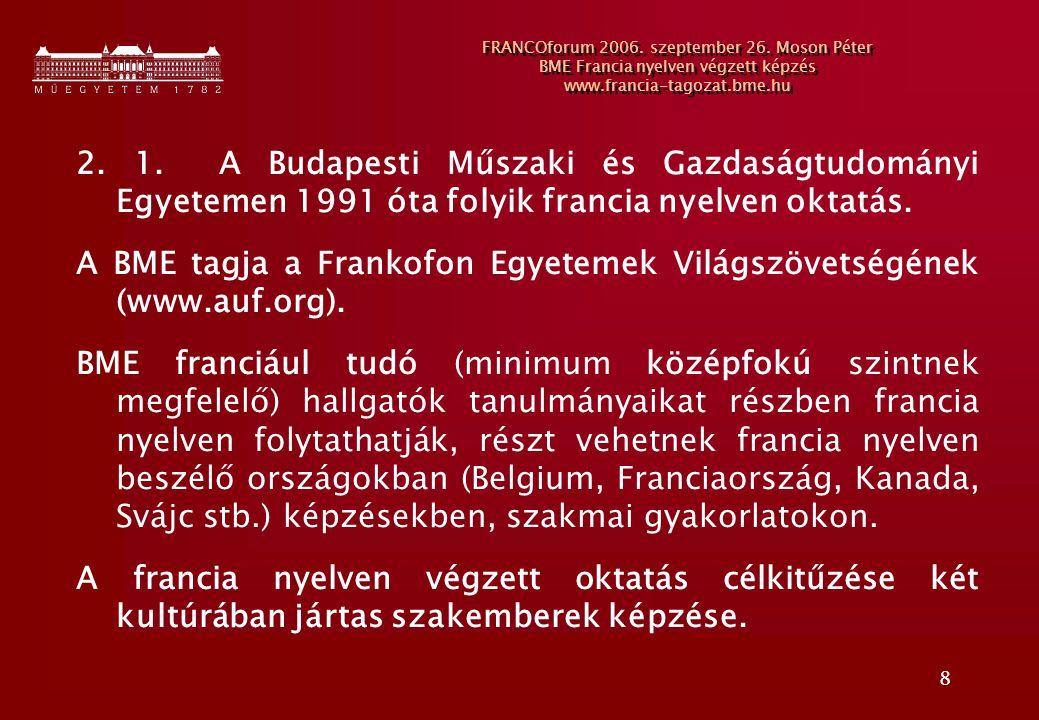 8 FRANCOforum 2006. szeptember 26. Moson Péter BME Francia nyelven végzett képzés www.francia-tagozat.bme.hu 2. 1. A Budapesti Műszaki és Gazdaságtudo