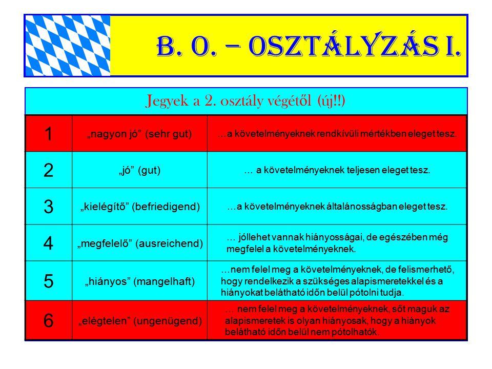 """B. o. – Osztályzás I. Jegyek a 2. osztály végét ő l (új!!) 1 """"nagyon jó"""" (sehr gut) …a követelményeknek rendkívüli mértékben eleget tesz. 2 """"jó"""" (gut)"""