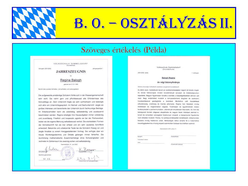 B. o. – Osztályzás II. Szöveges értékelés (Példa)