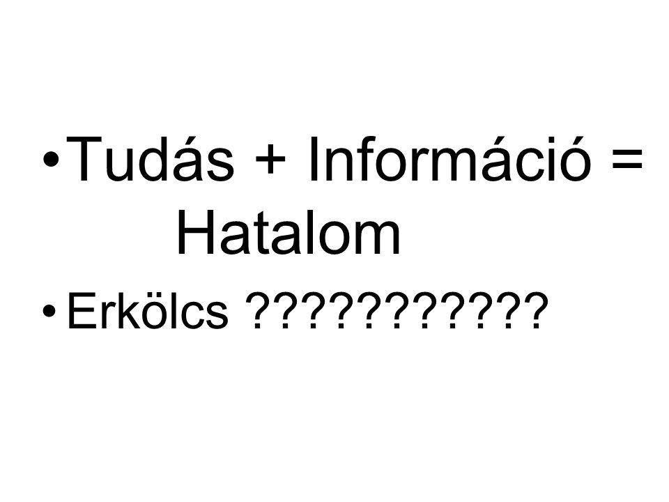 Tudás + Információ = Hatalom Erkölcs ???????????