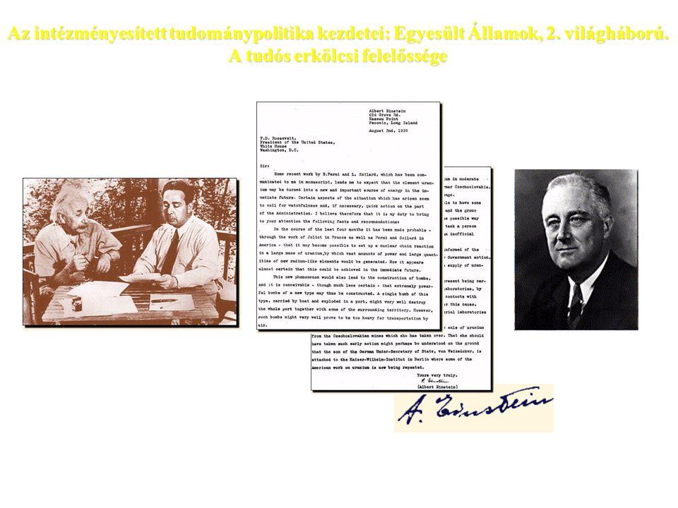 Az intézményesített tudománypolitika kezdetei: Egyesült Államok, 2.