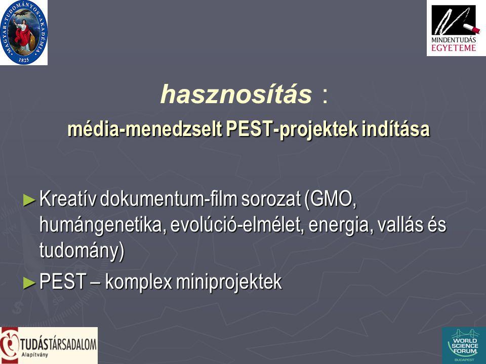 média-menedzselt PEST-projektek indítása hasznosítás : média-menedzselt PEST-projektek indítása ► Kreatív dokumentum-film sorozat (GMO, humángenetika, evolúció-elmélet, energia, vallás és tudomány) ► PEST – komplex miniprojektek