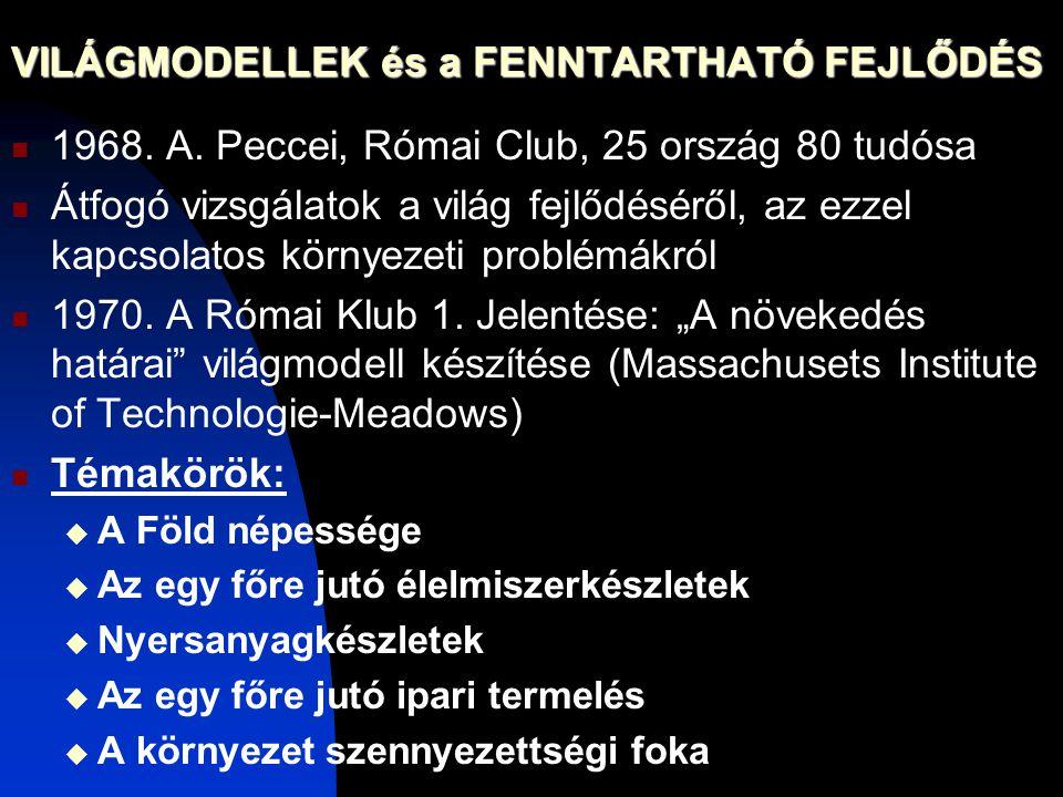 VILÁGMODELLEK és a FENNTARTHATÓ FEJLŐDÉS 1968. A. Peccei, Római Club, 25 ország 80 tudósa Átfogó vizsgálatok a világ fejlődéséről, az ezzel kapcsolato