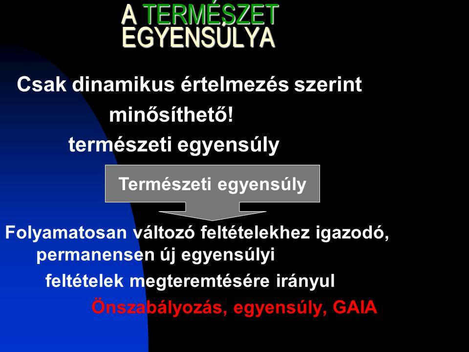 A TERMÉSZET EGYENSÚLYA Csak dinamikus értelmezés szerint minősíthető.