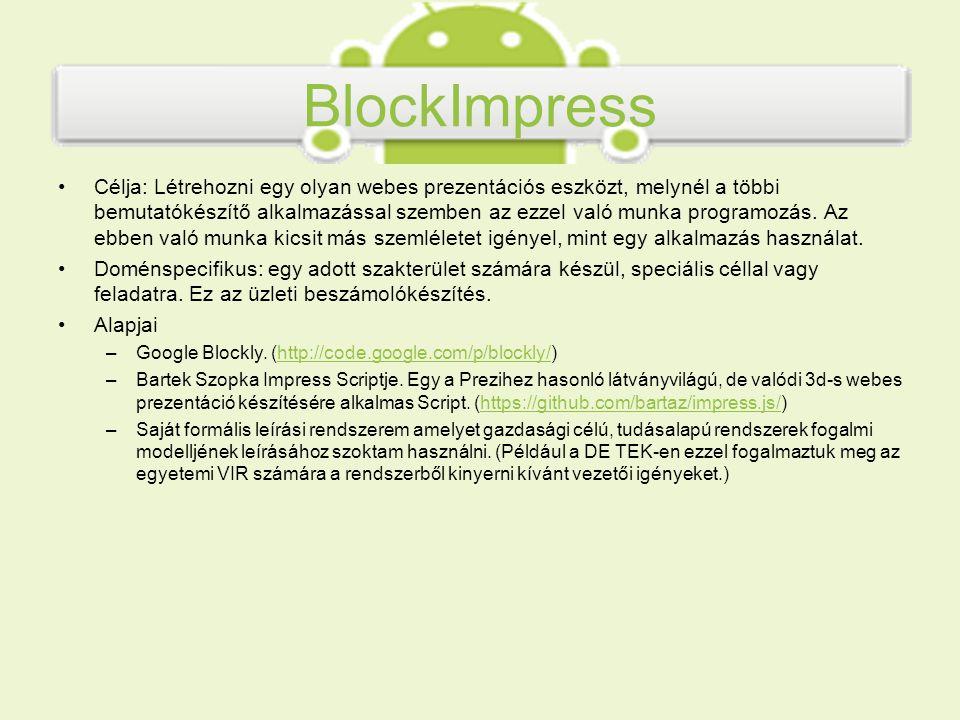 BlockImpress Célja: Létrehozni egy olyan webes prezentációs eszközt, melynél a többi bemutatókészítő alkalmazással szemben az ezzel való munka program