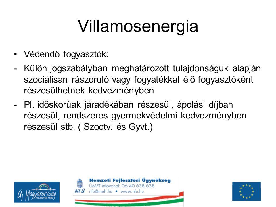 Villamosenergia Védendő fogyasztók: -Külön jogszabályban meghatározott tulajdonságuk alapján szociálisan rászoruló vagy fogyatékkal élő fogyasztóként részesülhetnek kedvezményben -Pl.