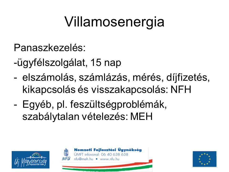 Villamosenergia Panaszkezelés: -ügyfélszolgálat, 15 nap -elszámolás, számlázás, mérés, díjfizetés, kikapcsolás és visszakapcsolás: NFH -Egyéb, pl.