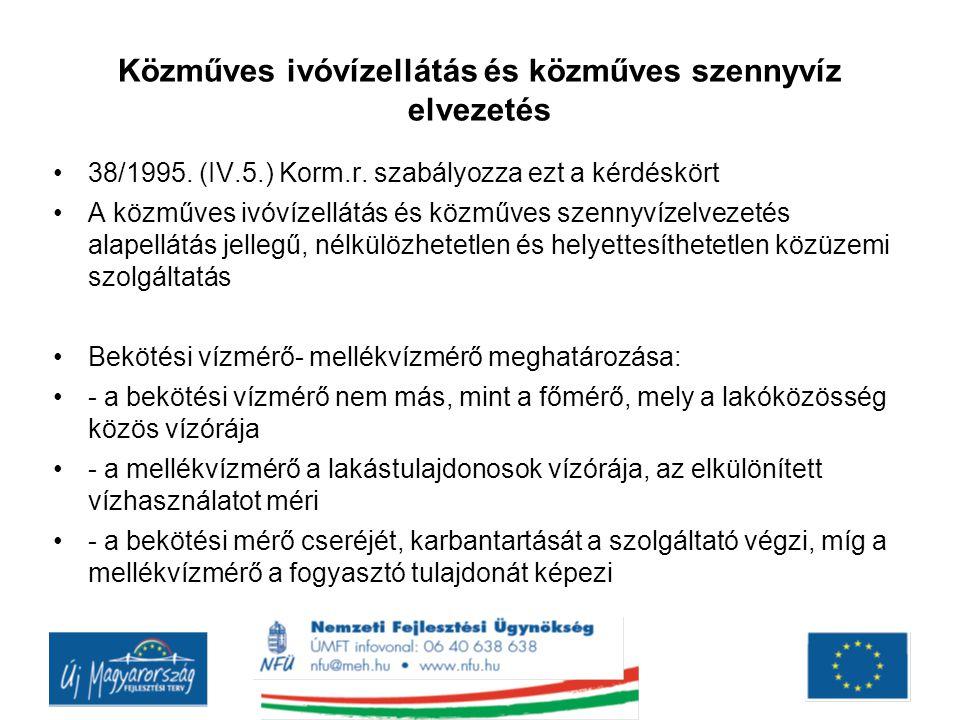 Közműves ivóvízellátás és közműves szennyvíz elvezetés 38/1995.
