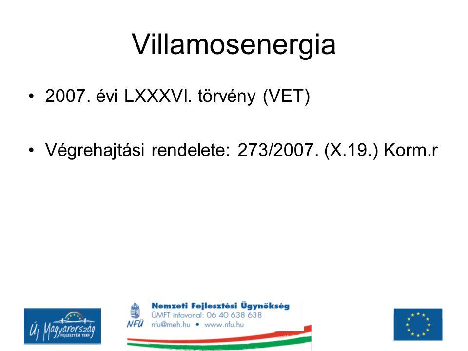 Villamosenergia 2007. évi LXXXVI. törvény (VET) Végrehajtási rendelete: 273/2007. (X.19.) Korm.r