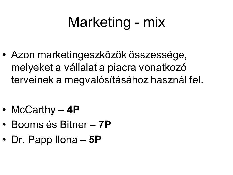 Marketing - mix Azon marketingeszközök összessége, melyeket a vállalat a piacra vonatkozó terveinek a megvalósításához használ fel.