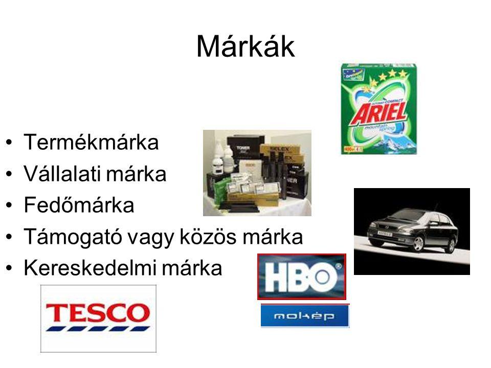 Márkák Termékmárka Vállalati márka Fedőmárka Támogató vagy közös márka Kereskedelmi márka