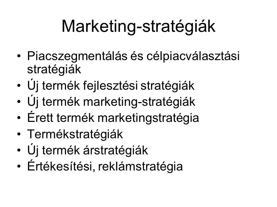Marketing-stratégiák Piacszegmentálás és célpiacválasztási stratégiák Új termék fejlesztési stratégiák Új termék marketing-stratégiák Érett termék marketingstratégia Termékstratégiák Új termék árstratégiák Értékesítési, reklámstratégia