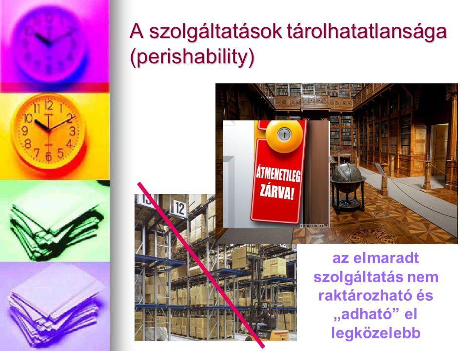 """A szolgáltatások tárolhatatlansága (perishability) az elmaradt szolgáltatás nem raktározható és """"adható el legközelebb"""