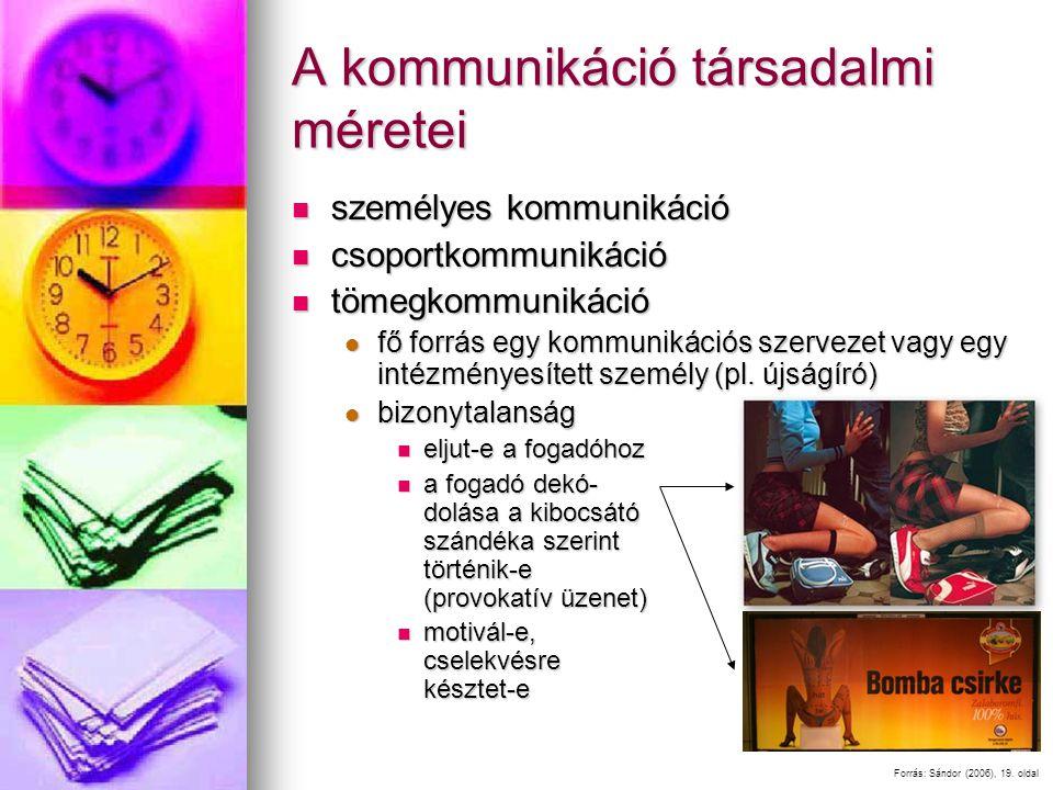 A kommunikáció társadalmi méretei személyes kommunikáció személyes kommunikáció csoportkommunikáció csoportkommunikáció tömegkommunikáció tömegkommunikáció fő forrás egy kommunikációs szervezet vagy egy intézményesített személy (pl.
