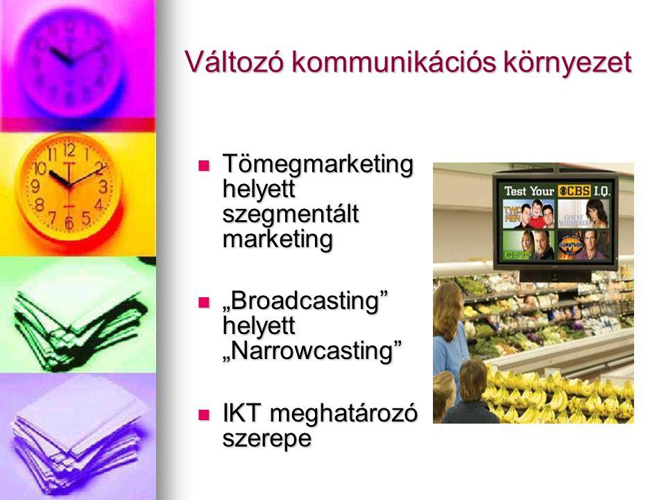 """Változó kommunikációs környezet Tömegmarketing helyett szegmentált marketing Tömegmarketing helyett szegmentált marketing """"Broadcasting helyett """"Narrowcasting """"Broadcasting helyett """"Narrowcasting IKT meghatározó szerepe IKT meghatározó szerepe"""