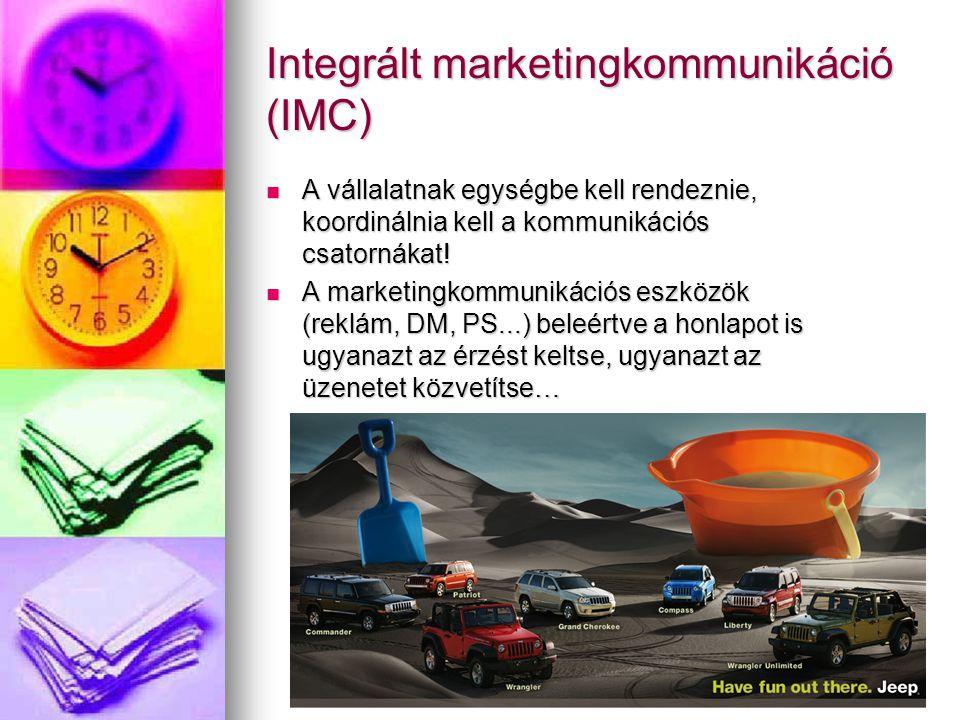 Integrált marketingkommunikáció (IMC) A vállalatnak egységbe kell rendeznie, koordinálnia kell a kommunikációs csatornákat.