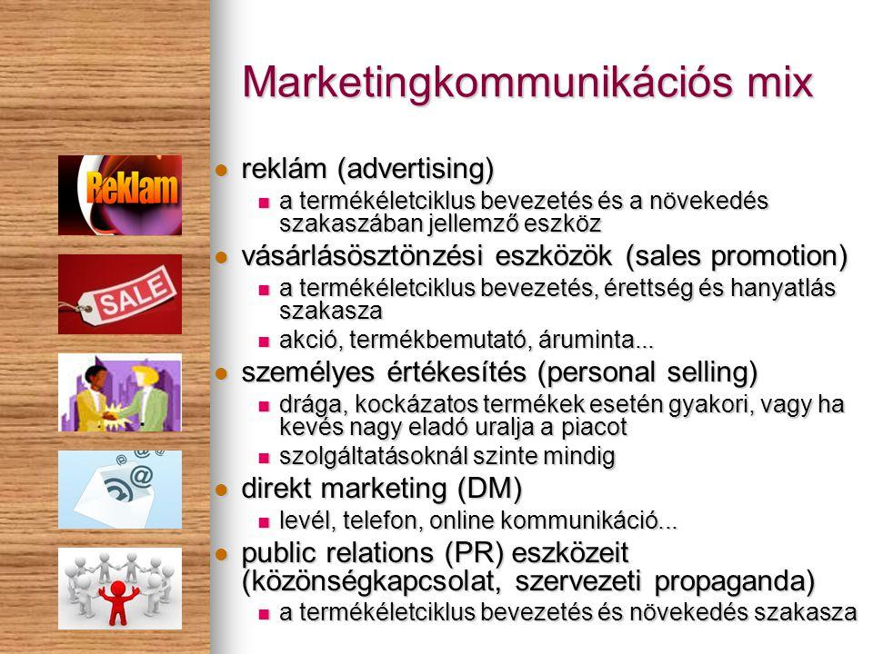 Marketingkommunikációs mix reklám (advertising) reklám (advertising) a termékéletciklus bevezetés és a növekedés szakaszában jellemző eszköz a termékéletciklus bevezetés és a növekedés szakaszában jellemző eszköz vásárlásösztönzési eszközök (sales promotion) vásárlásösztönzési eszközök (sales promotion) a termékéletciklus bevezetés, érettség és hanyatlás szakasza a termékéletciklus bevezetés, érettség és hanyatlás szakasza akció, termékbemutató, áruminta...