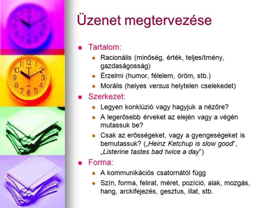 Üzenet megtervezése Tartalom: Tartalom: Racionális (minőség, érték, teljesítmény, gazdaságosság) Racionális (minőség, érték, teljesítmény, gazdaságosság) Érzelmi (humor, félelem, öröm, stb.) Érzelmi (humor, félelem, öröm, stb.) Morális (helyes versus helytelen cselekedet) Morális (helyes versus helytelen cselekedet) Szerkezet: Szerkezet: Legyen konklúzió vagy hagyjuk a nézőre.