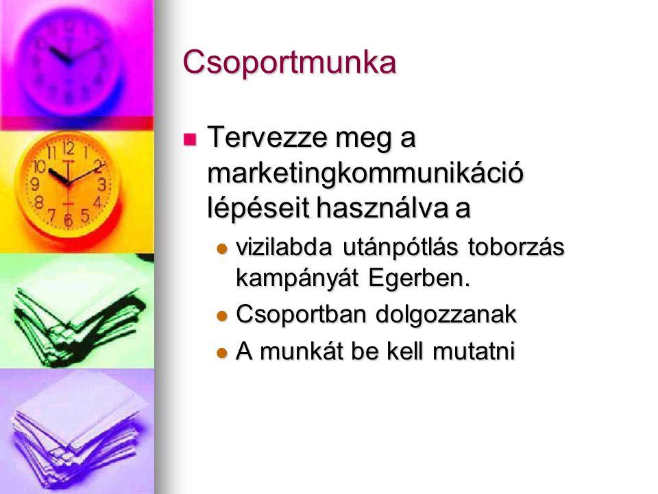 Csoportmunka Tervezze meg a marketingkommunikáció lépéseit használva a Tervezze meg a marketingkommunikáció lépéseit használva a vizilabda utánpótlás toborzás kampányát Egerben.
