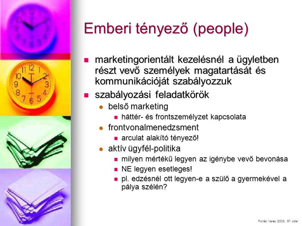 Emberi tényező (people) marketingorientált kezelésnél a ügyletben részt vevő személyek magatartását és kommunikációját szabályozzuk marketingorientált kezelésnél a ügyletben részt vevő személyek magatartását és kommunikációját szabályozzuk szabályozási feladatkörök szabályozási feladatkörök belső marketing belső marketing háttér- és frontszemélyzet kapcsolata háttér- és frontszemélyzet kapcsolata frontvonalmenedzsment frontvonalmenedzsment arculat alakító tényező.