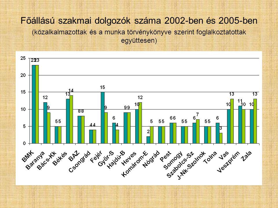 Főállású szakmai dolgozók száma 2002-ben és 2005-ben (közalkalmazottak és a munka törvénykönyve szerint foglalkoztatottak együttesen)
