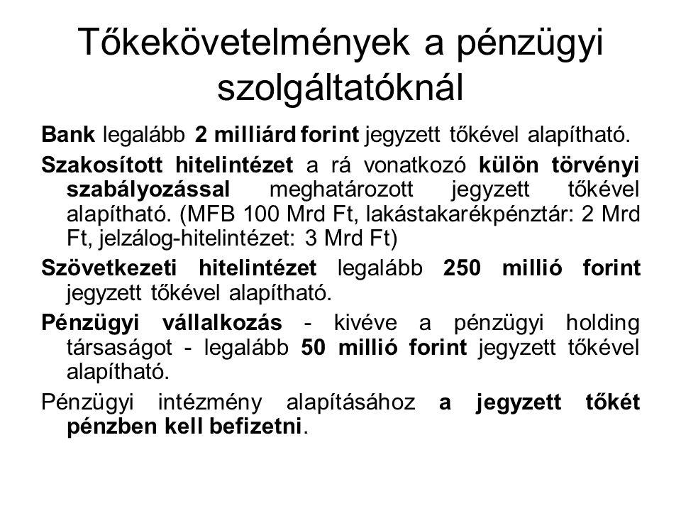 Tőkekövetelmények a pénzügyi szolgáltatóknál Bank legalább 2 milliárd forint jegyzett tőkével alapítható.