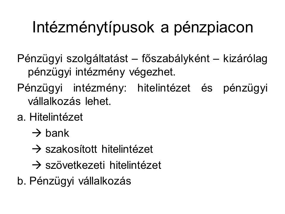 Intézménytípusok a pénzpiacon Pénzügyi szolgáltatást – főszabályként – kizárólag pénzügyi intézmény végezhet.