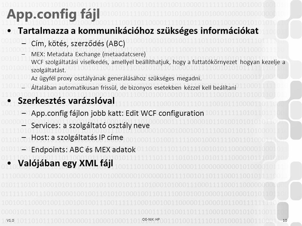 V1.0 App.config fájl Tartalmazza a kommunikációhoz szükséges információkat –Cím, kötés, szerződés (ABC) –MEX: Metadata Exchange (metaadatcsere) WCF szolgáltatási viselkedés, amellyel beállíthatjuk, hogy a futtatókörnyezet hogyan kezelje a szolgáltatást.
