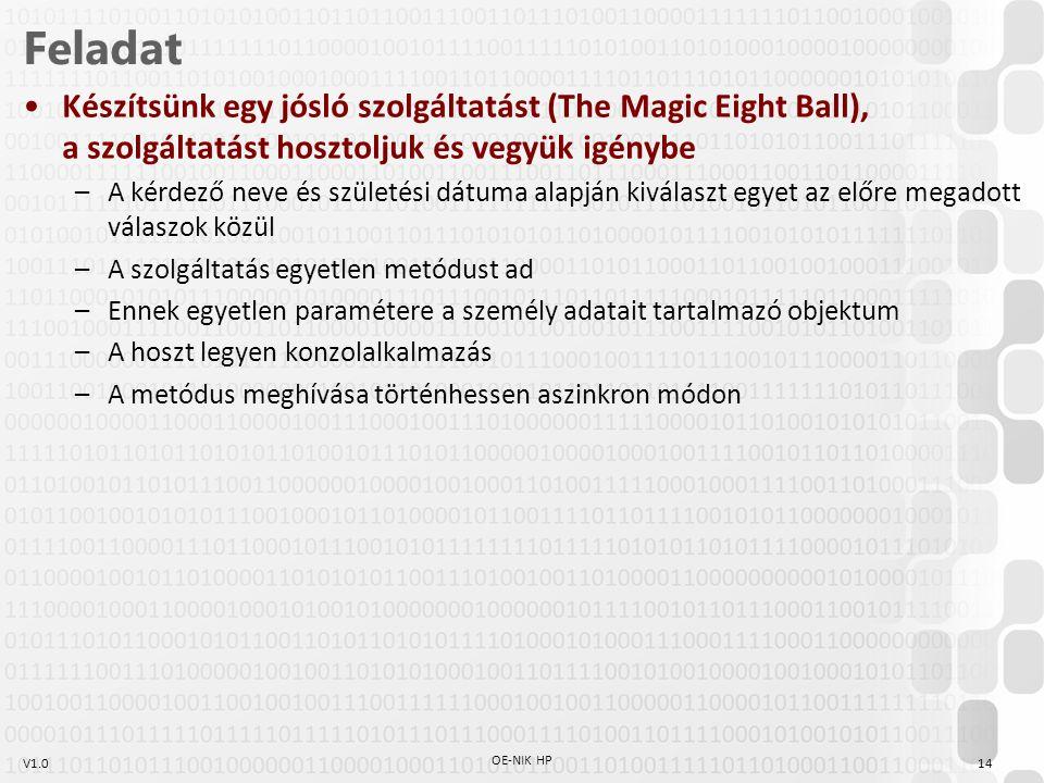 V1.014 OE-NIK HP Feladat Készítsünk egy jósló szolgáltatást (The Magic Eight Ball), a szolgáltatást hosztoljuk és vegyük igénybe –A kérdező neve és születési dátuma alapján kiválaszt egyet az előre megadott válaszok közül –A szolgáltatás egyetlen metódust ad –Ennek egyetlen paramétere a személy adatait tartalmazó objektum –A hoszt legyen konzolalkalmazás –A metódus meghívása történhessen aszinkron módon