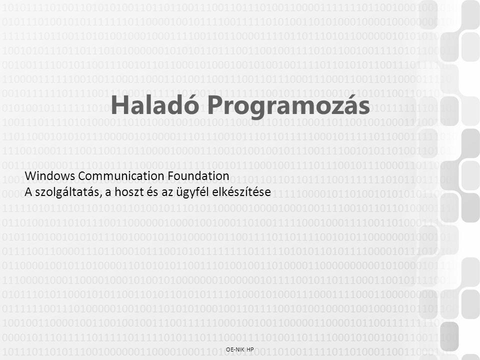 Haladó Programozás Windows Communication Foundation A szolgáltatás, a hoszt és az ügyfél elkészítése