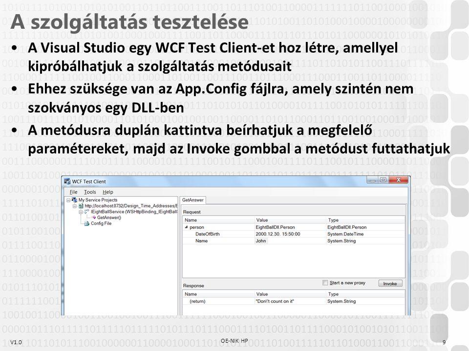 V1.0 A szolgáltatás tesztelése A Visual Studio egy WCF Test Client-et hoz létre, amellyel kipróbálhatjuk a szolgáltatás metódusait Ehhez szüksége van az App.Config fájlra, amely szintén nem szokványos egy DLL-ben A metódusra duplán kattintva beírhatjuk a megfelelő paramétereket, majd az Invoke gombbal a metódust futtathatjuk 9 OE-NIK HP