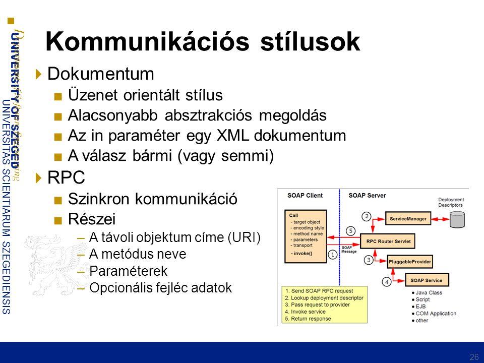 UNIVERSITY OF SZEGED D epartment of Software Engineering UNIVERSITAS SCIENTIARUM SZEGEDIENSIS Kommunikációs stílusok  Dokumentum ■Üzenet orientált stílus ■Alacsonyabb absztrakciós megoldás ■Az in paraméter egy XML dokumentum ■A válasz bármi (vagy semmi)  RPC ■Szinkron kommunikáció ■Részei –A távoli objektum címe (URI) –A metódus neve –Paraméterek –Opcionális fejléc adatok 26