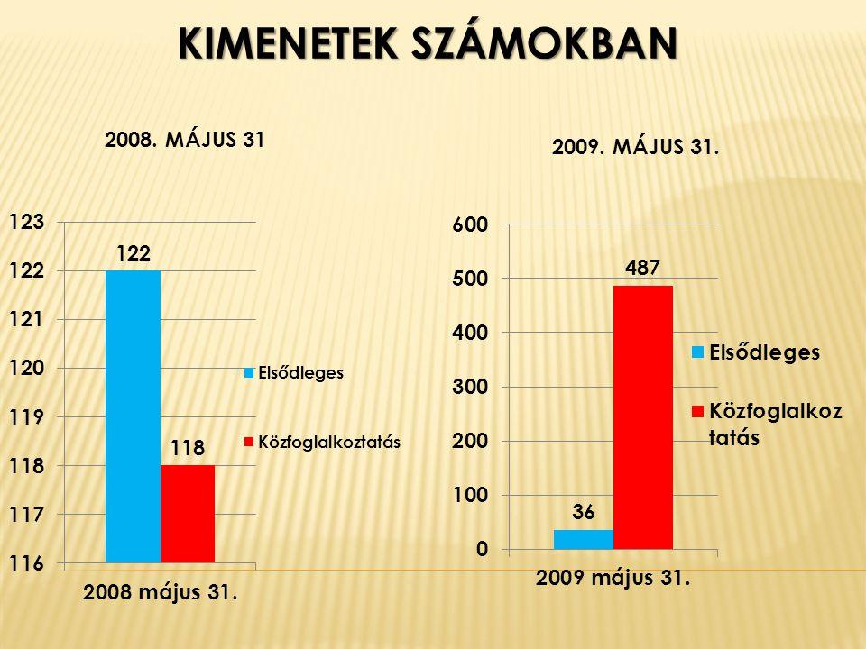 KIMENETEK SZÁMOKBAN 2008. MÁJUS 31 2009. MÁJUS 31.