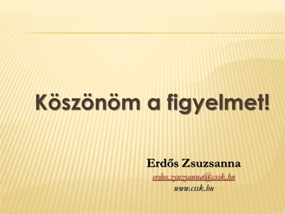 Köszönöm a figyelmet! Erdős Zsuzsanna erdos.zsuzsanna@cssk.hu www.cssk.hu