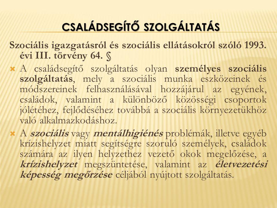 CSALÁDSEGÍTŐ SZOLGÁLTATÁS Szociális igazgatásról és szociális ellátásokról szóló 1993.