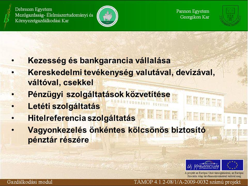 Kezesség és bankgarancia vállalása Kereskedelmi tevékenység valutával, devizával, váltóval, csekkel Pénzügyi szolgáltatások közvetítése Letéti szolgál
