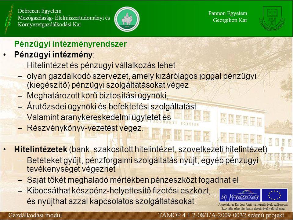 Pénzügyi intézményrendszer Pénzügyi intézmény: –Hitelintézet és pénzügyi vállalkozás lehet –olyan gazdálkodó szervezet, amely kizárólagos joggal pénzü