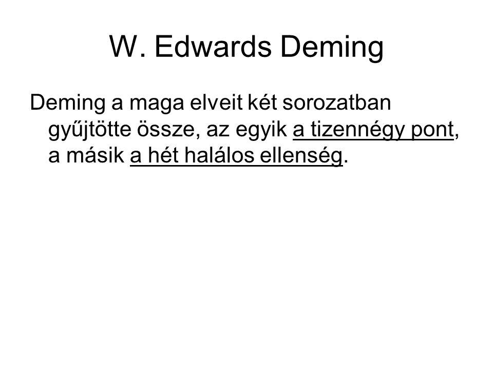 W. Edwards Deming Deming a maga elveit két sorozatban gyűjtötte össze, az egyik a tizennégy pont, a másik a hét halálos ellenség.