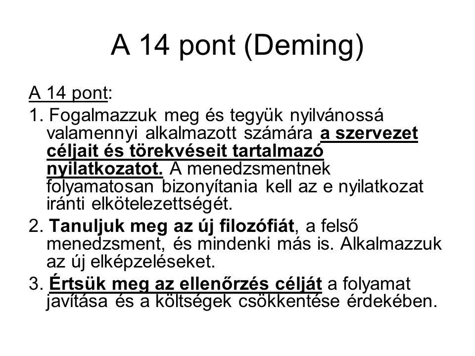 A 14 pont (Deming) A 14 pont: 1. Fogalmazzuk meg és tegyük nyilvánossá valamennyi alkalmazott számára a szervezet céljait és törekvéseit tartalmazó ny