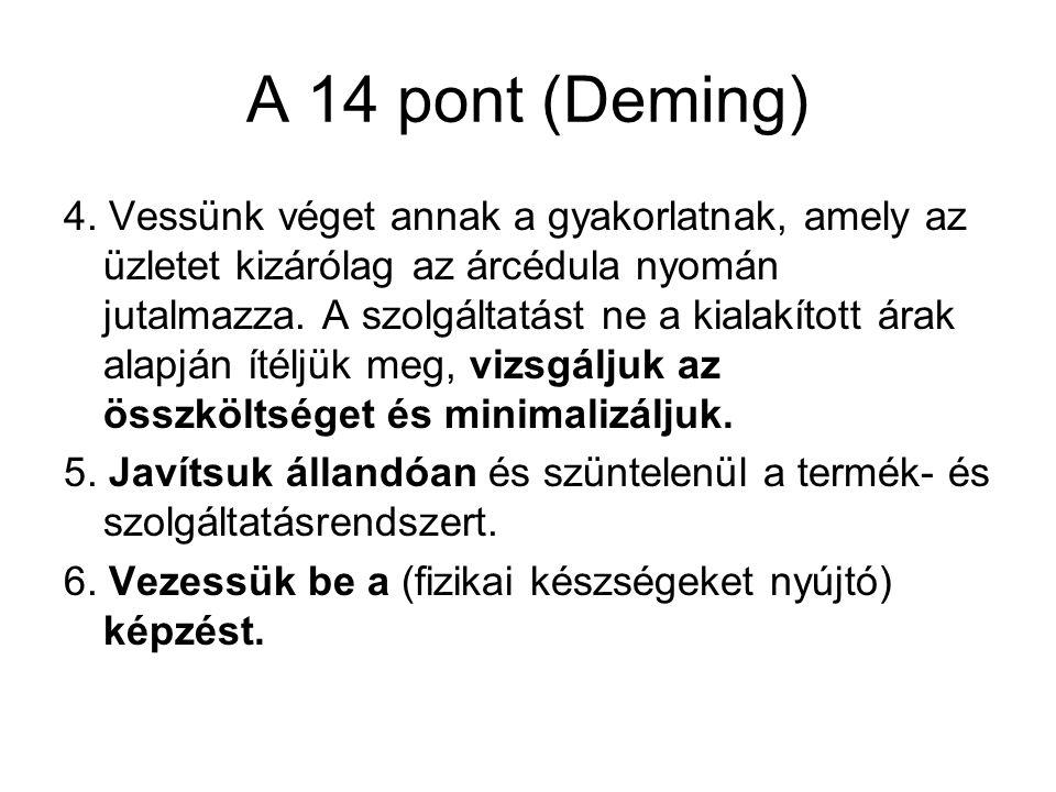 A 14 pont (Deming) 4. Vessünk véget annak a gyakorlatnak, amely az üzletet kizárólag az árcédula nyomán jutalmazza. A szolgáltatást ne a kialakított á