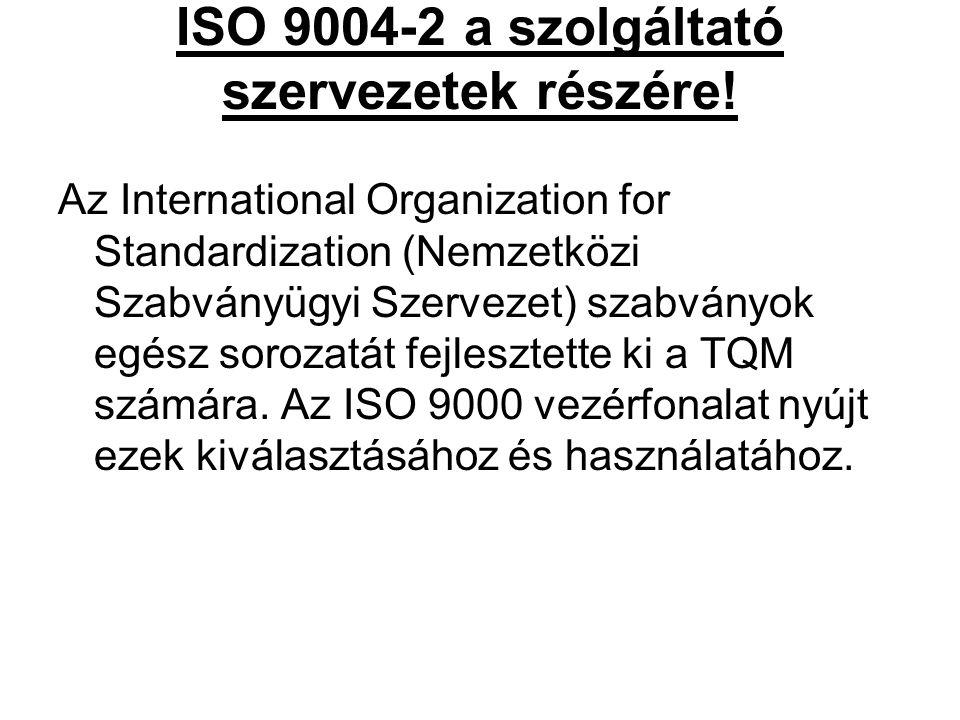 ISO 9004-2 a szolgáltató szervezetek részére! Az International Organization for Standardization (Nemzetközi Szabványügyi Szervezet) szabványok egész s