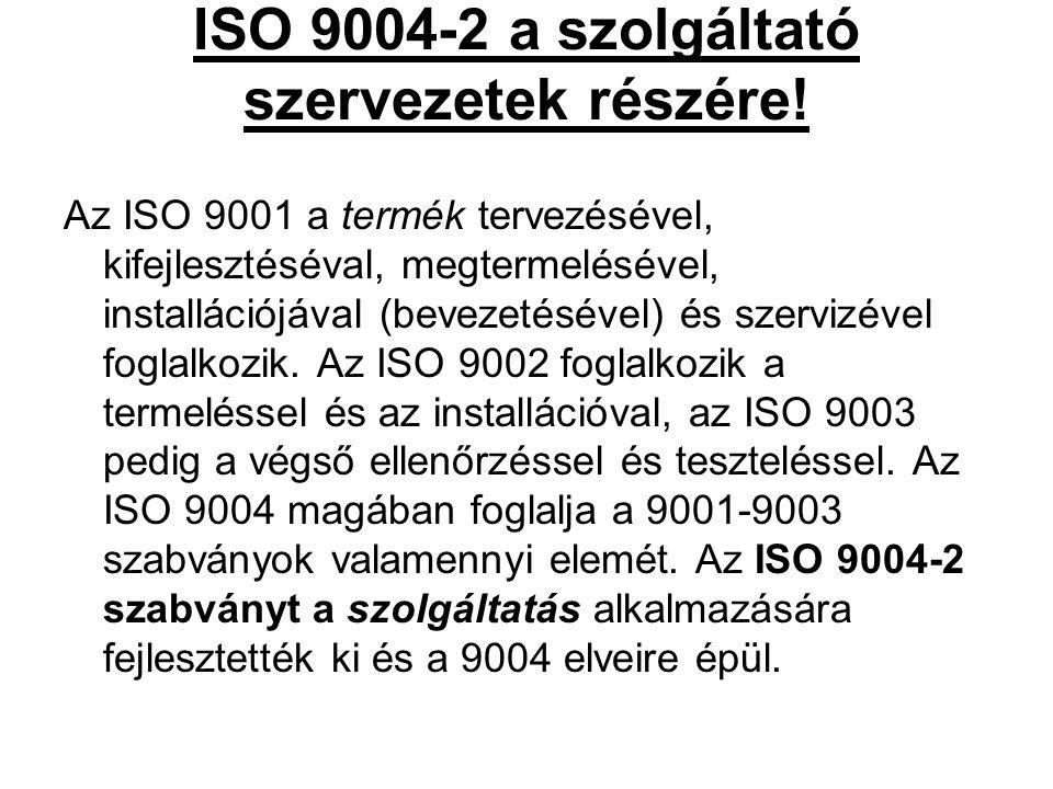 ISO 9004-2 a szolgáltató szervezetek részére! Az ISO 9001 a termék tervezésével, kifejlesztéséval, megtermelésével, installációjával (bevezetésével) é
