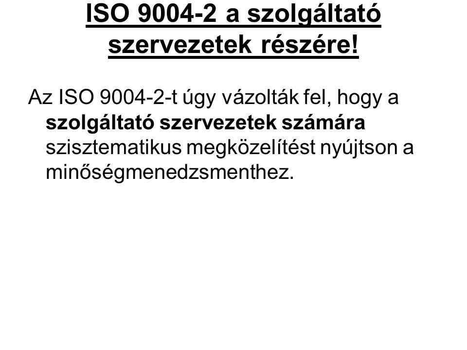 ISO 9004-2 a szolgáltató szervezetek részére! Az ISO 9004-2-t úgy vázolták fel, hogy a szolgáltató szervezetek számára szisztematikus megközelítést ny