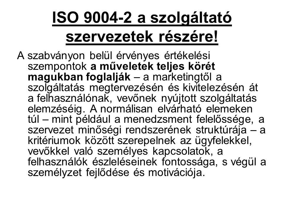 ISO 9004-2 a szolgáltató szervezetek részére! A szabványon belül érvényes értékelési szempontok a műveletek teljes körét magukban foglalják – a market