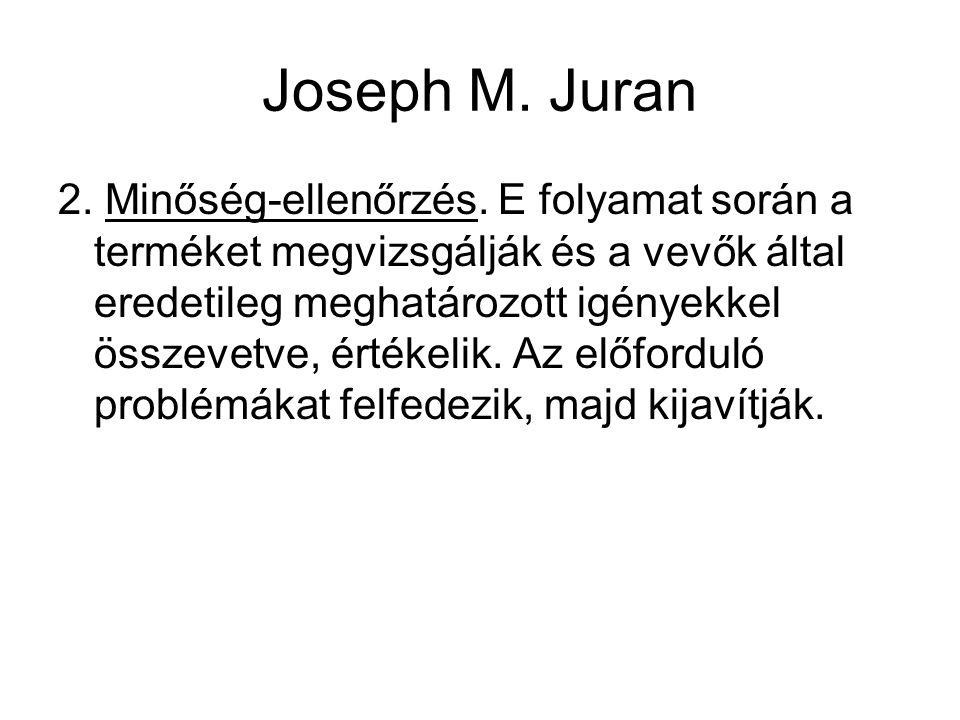 Joseph M. Juran 2. Minőség-ellenőrzés. E folyamat során a terméket megvizsgálják és a vevők által eredetileg meghatározott igényekkel összevetve, érté