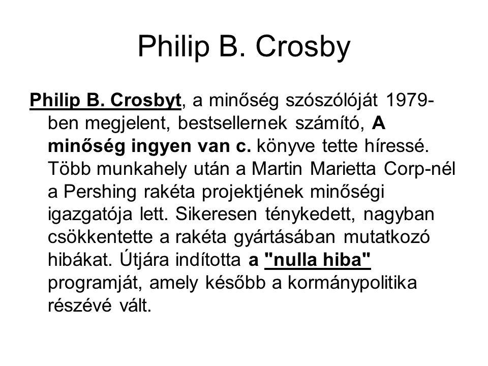 Philip B. Crosby Philip B. Crosbyt, a minőség szószólóját 1979- ben megjelent, bestsellernek számító, A minőség ingyen van c. könyve tette híressé. Tö