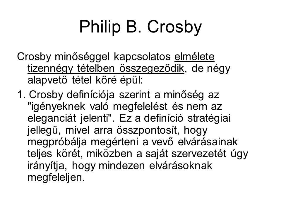 Philip B. Crosby Crosby minőséggel kapcsolatos elmélete tizennégy tételben összegeződik, de négy alapvető tétel köré épül: 1. Crosby definíciója szeri