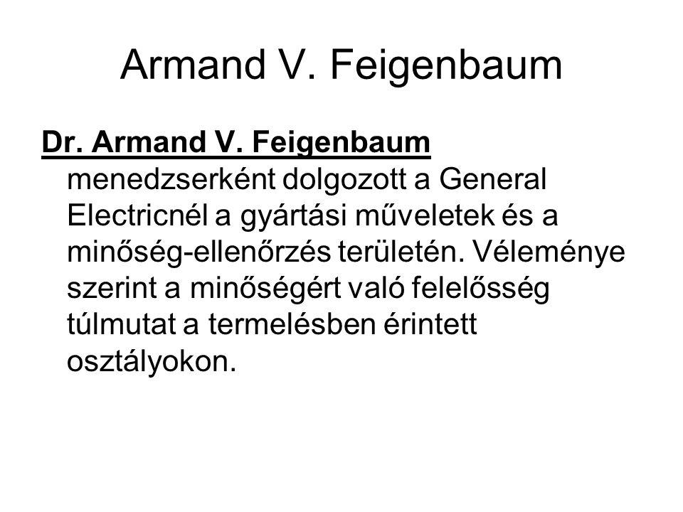Armand V. Feigenbaum Dr. Armand V. Feigenbaum menedzserként dolgozott a General Electricnél a gyártási műveletek és a minőség-ellenőrzés területén. Vé