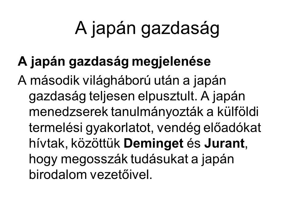 A japán gazdaság A japán gazdaság megjelenése A második világháború után a japán gazdaság teljesen elpusztult. A japán menedzserek tanulmányozták a kü