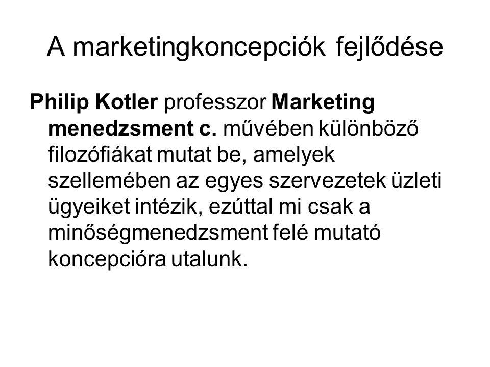 A marketingkoncepciók fejlődése Philip Kotler professzor Marketing menedzsment c. művében különböző filozófiákat mutat be, amelyek szellemében az egye